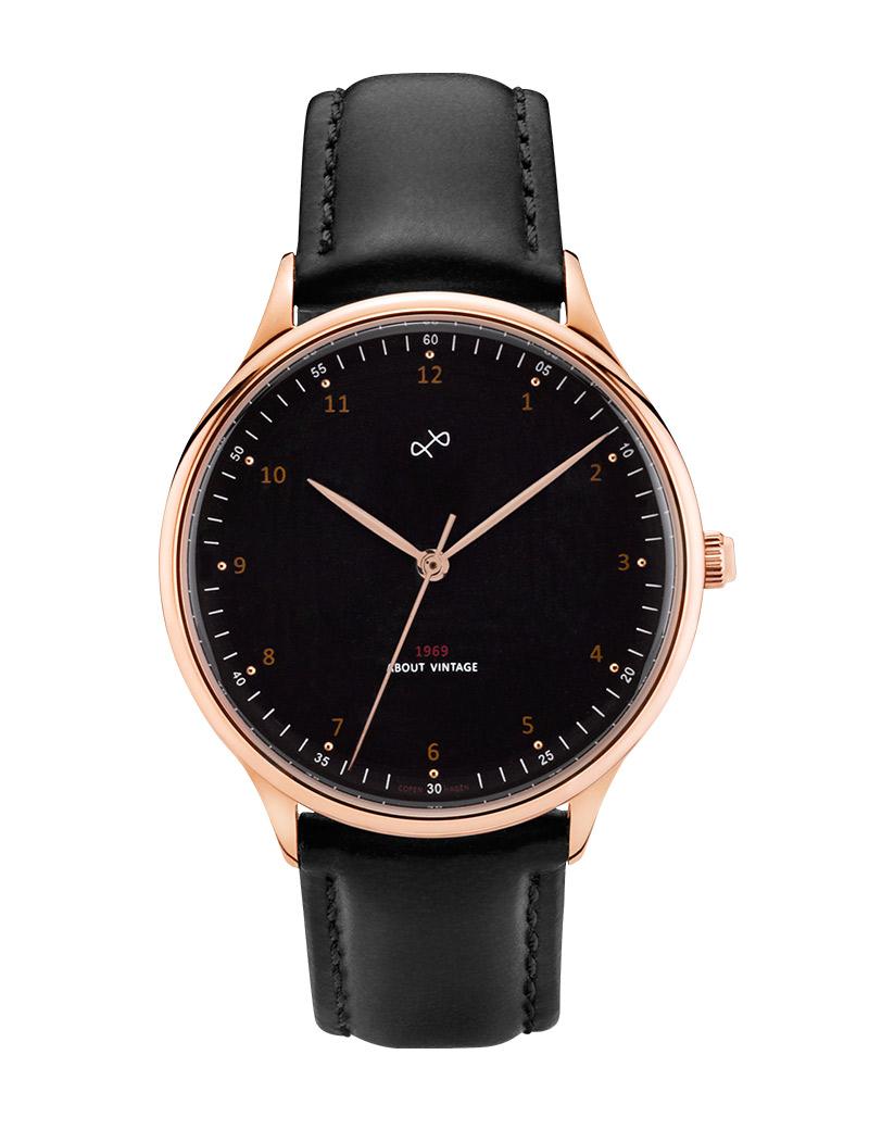 Image of   ABOUT VINTAGE 1969 armbåndsur Ø 36 mm i rosa stål med sort skive og sort læderrem