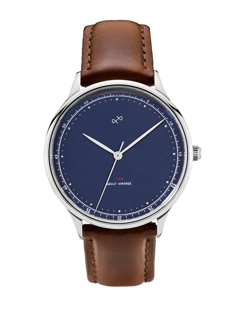 Image of   ABOUT VINTAGE 1969 armbåndsur Ø 36 mm i stål med blå skive og brun læderrem