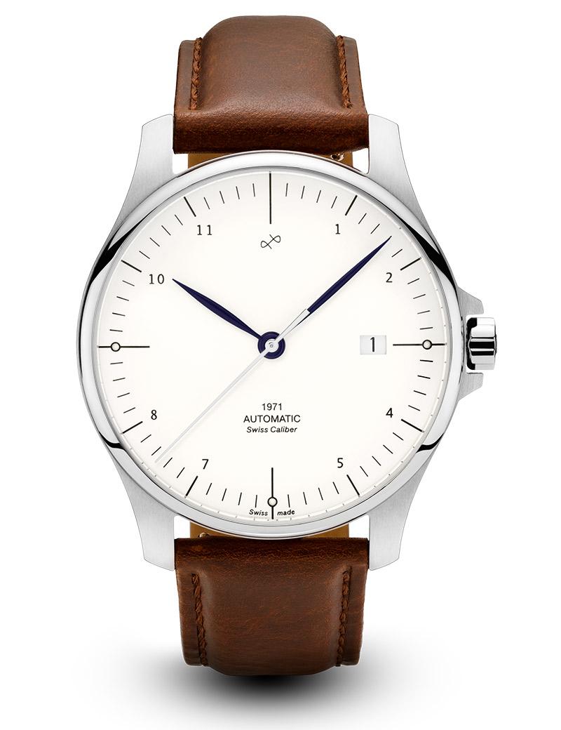 Image of   ABOUT VINTAGE 1971 automatic armbåndsur i stål med hvid skive og brun læderrem