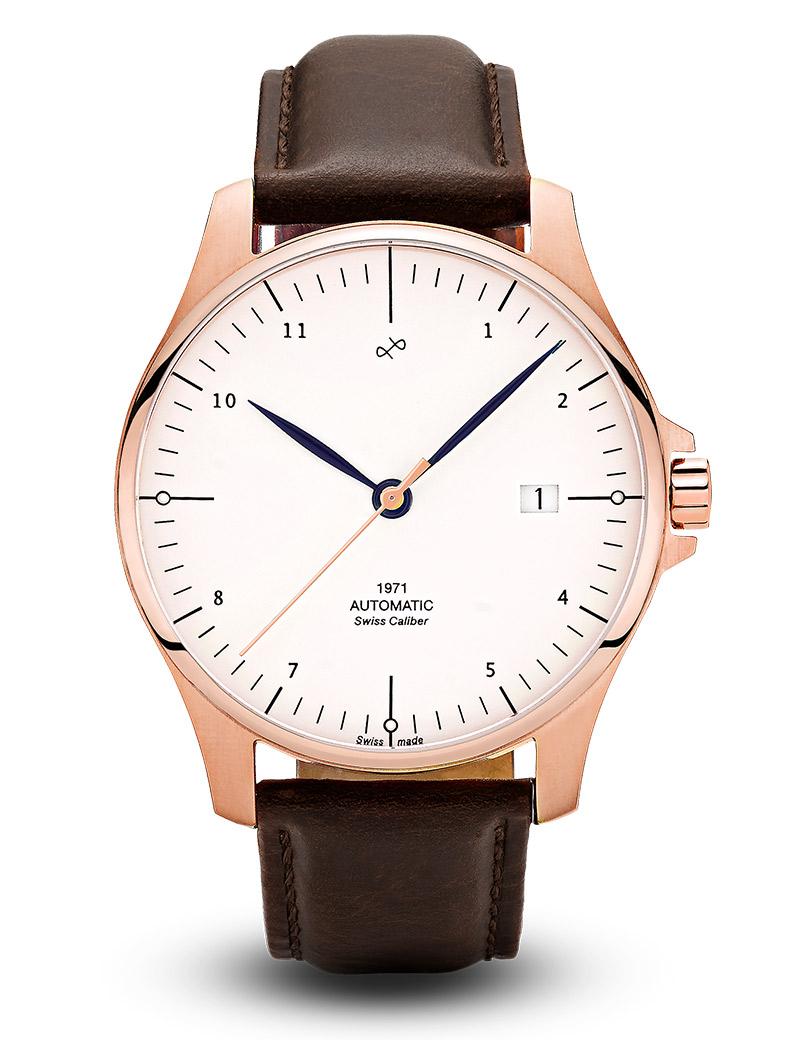Image of   ABOUT VINTAGE 1971 automatic armbåndsur i rosa stål med hvid skive og brun læderrem