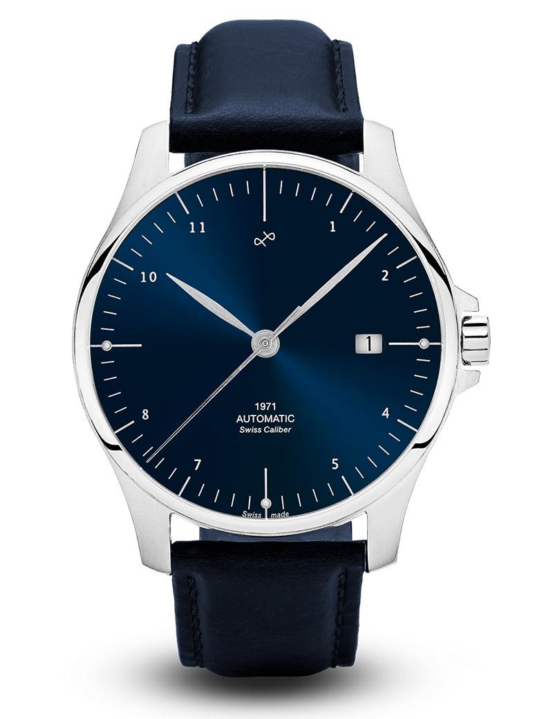 Image of   ABOUT VINTAGE 1971 automatic armbåndsur i stål med blå skive og blå læderrem