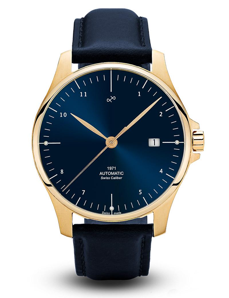 Image of   ABOUT VINTAGE 1971 automatic armbåndsur i guldfarvet stål med blå skive og læderrem