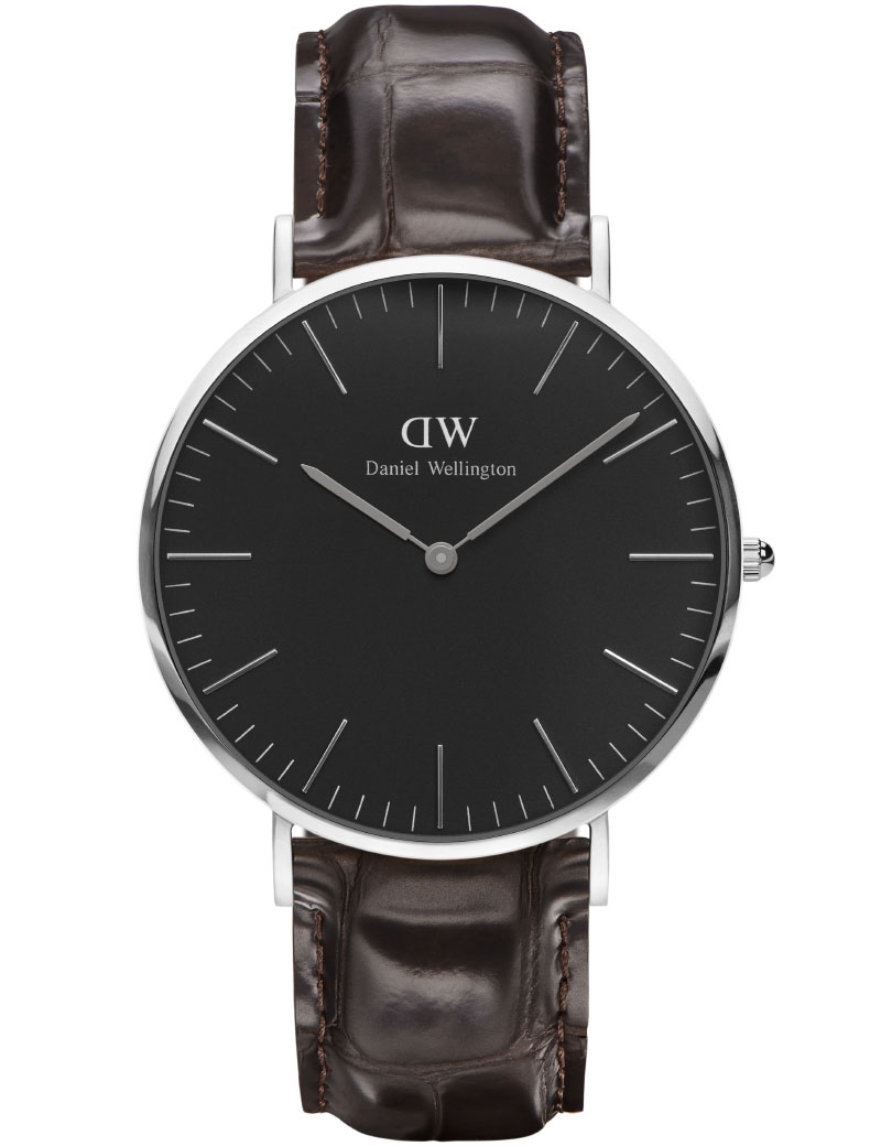 DANIEL WELLINGTON 40 MM CLASSIC BLACK YORK I STÅL MED LÆDERREM