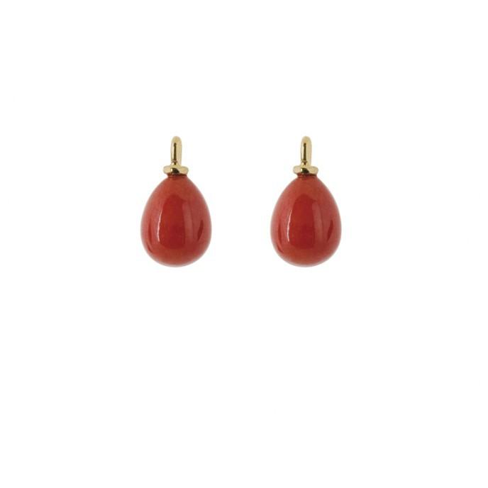 Ole Lynggaard Vedhæng par 18 karat rødguld koraldråbe 8,5 x 6,5 mm øsken