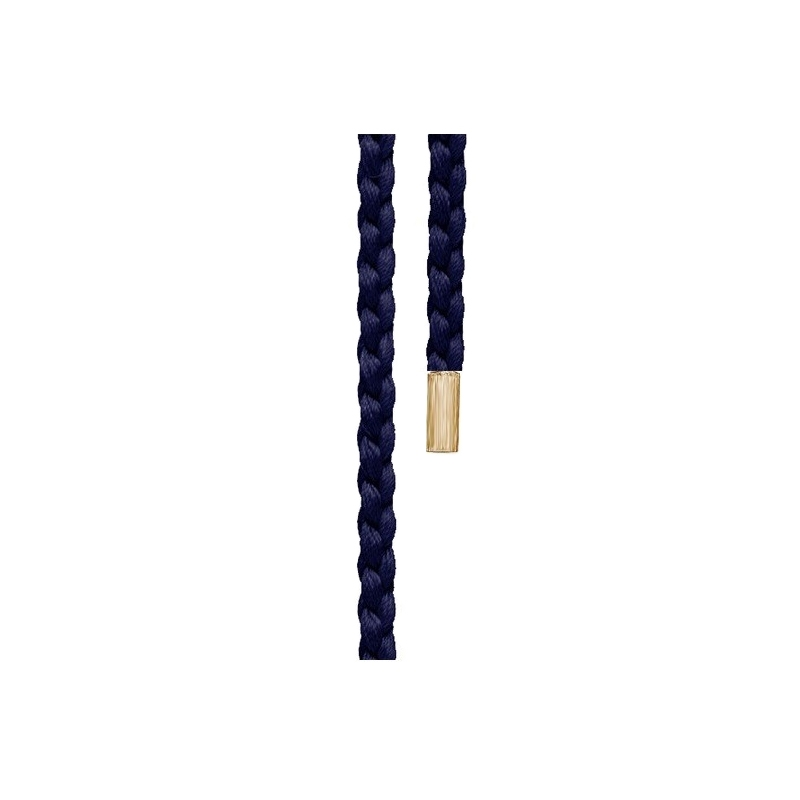 Image of   Ole Lynggaard Snoet Mokuba silkesnor blå endestykker lige 18 karat rødguld længde 130 cm
