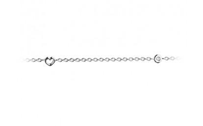 Image of   Ole Lynggaard Collier 18 karat hvidguld anker tråd 40 hjerter åbne massive samt 5 brill. x 0.02 ct. TW.VS 60 cm