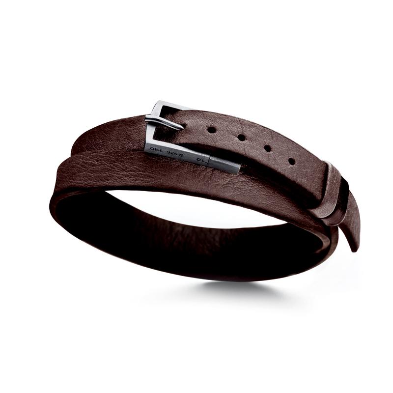 Ole Lynggaard brun læderarmbånd, vendbart