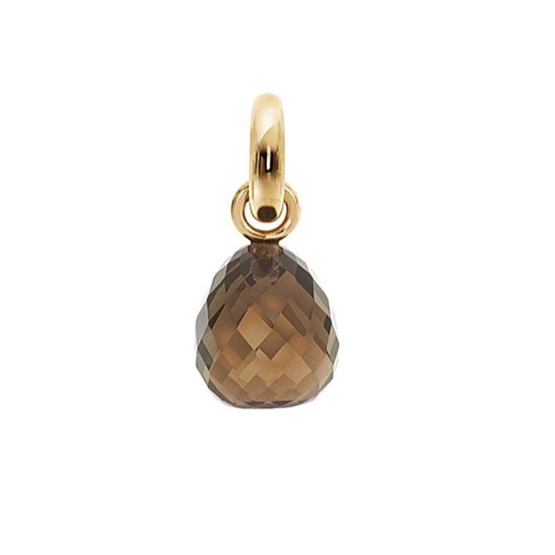 Image of   Ole Lynggaard Charm Sweet Drops i guld med røgkvarts og brillant