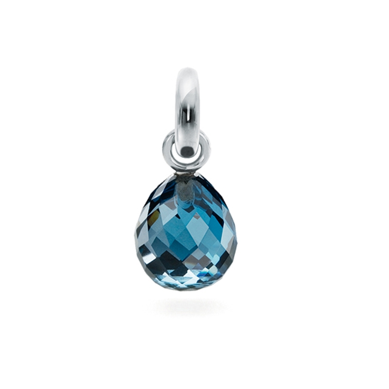Image of   Ole Lynggaard Charm Sweet Drops London blå topas facetteret opluk 18 karat hvidguld samt 1 brill. 0,015 ct. TW.VS