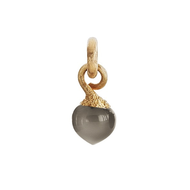Image of   Ole Lynggaard Charm lille Sweet Drops top 18 karat rødguld satineret opluk grå månesten cabochon