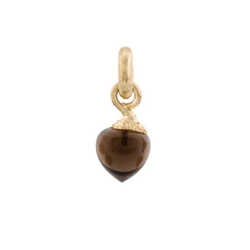 Image of   Ole Lynggaard Charm lille Sweet Drops top 18 karat rødguld satineret opluk røgkvarts cabochon
