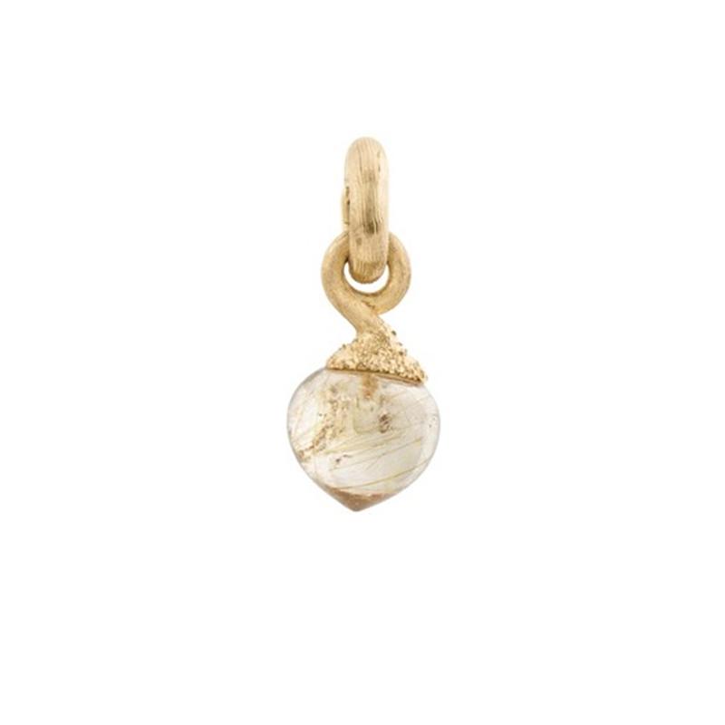 Image of   Ole Lynggaard Charm lille Sweet Drops top 18 karat rødguld satineret opluk rutilkvarts cabochon