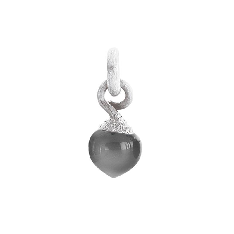 Image of   Ole Lynggaard Charm lille Sweet Drops top rhodineret 18 karat hvidguld satineret opluk grå månesten cabochon