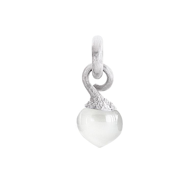 Image of   Ole Lynggaard Charm lille Sweet Drops top rhodineret 18 karat hvidguld satineret opluk hvid månesten cabochon