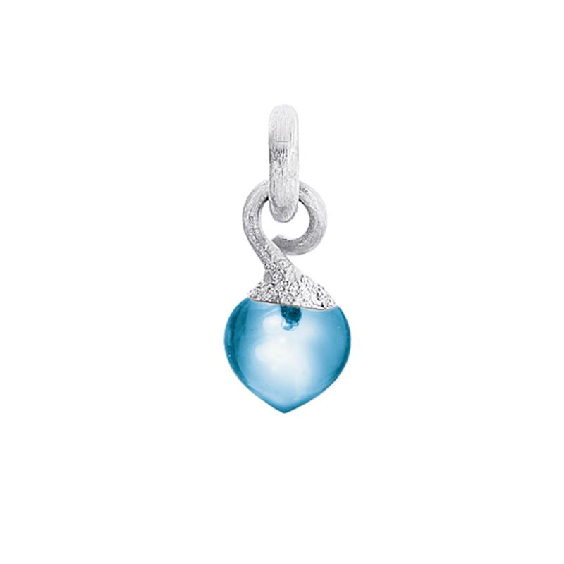 Image of   Ole Lynggaard Charm lille Sweet Drops top rhodineret 18 karat hvidguld satineret opluk Swiss blå topas cabochon