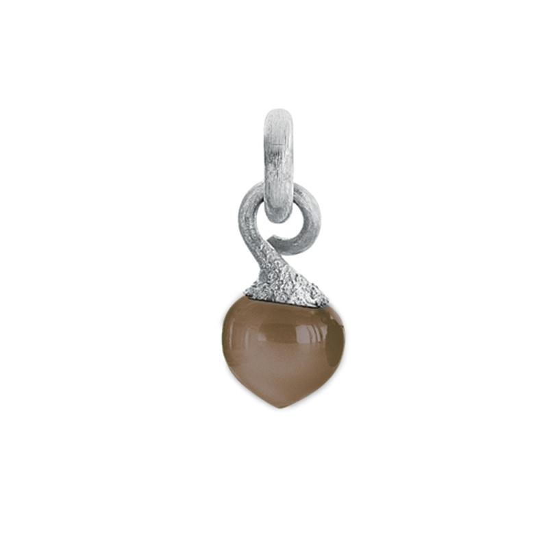Image of   Ole Lynggaard Charm lille Sweet Drops top rhodineret 18 karat hvidguld satineret opluk røgkvarts cabochon