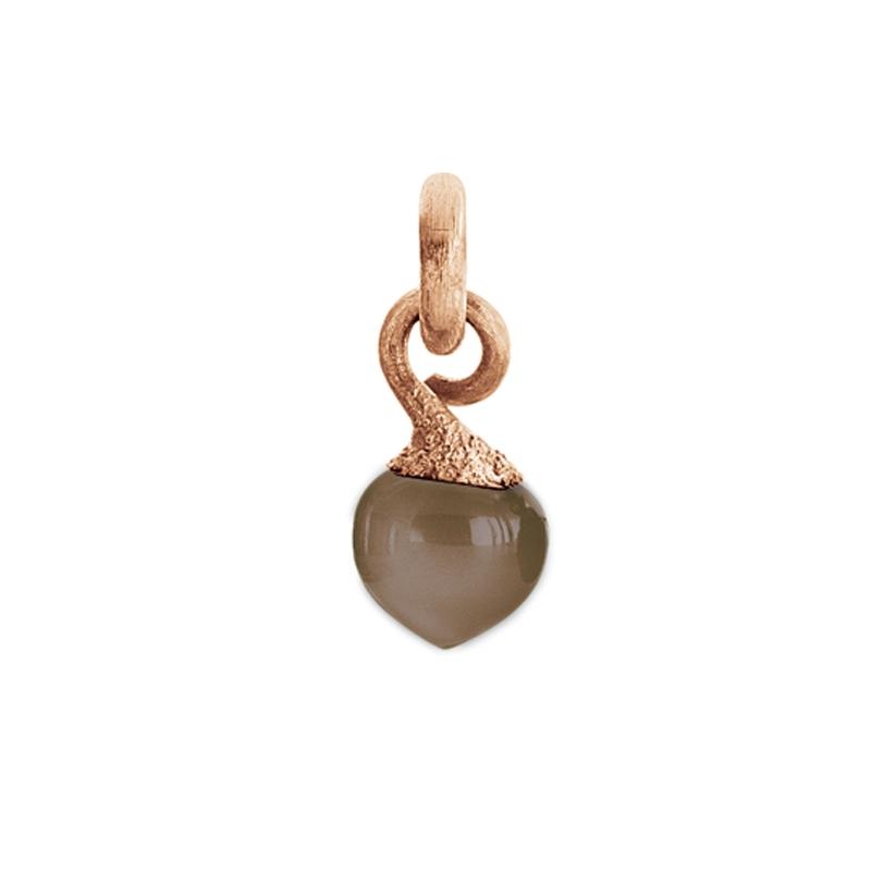 Image of   Ole Lynggaard Charm lille Sweet Drops top 18 karat rosaguld satineret opluk grå månesten cabochon