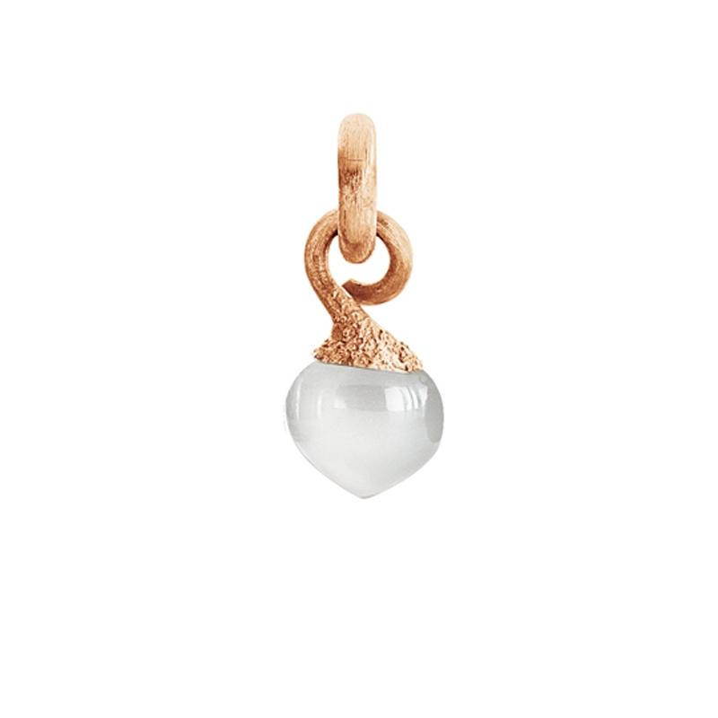Image of   Ole Lynggaard Charm lille Sweet Drops top 18 karat rosaguld satineret opluk hvid månesten cabochon