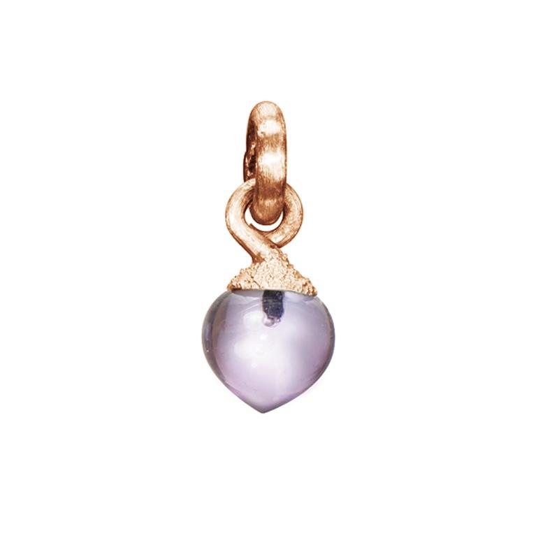 Image of   Ole Lynggaard Charm lille Sweet Drops top 18 karat rosaguld satineret opluk ametyst cabochon