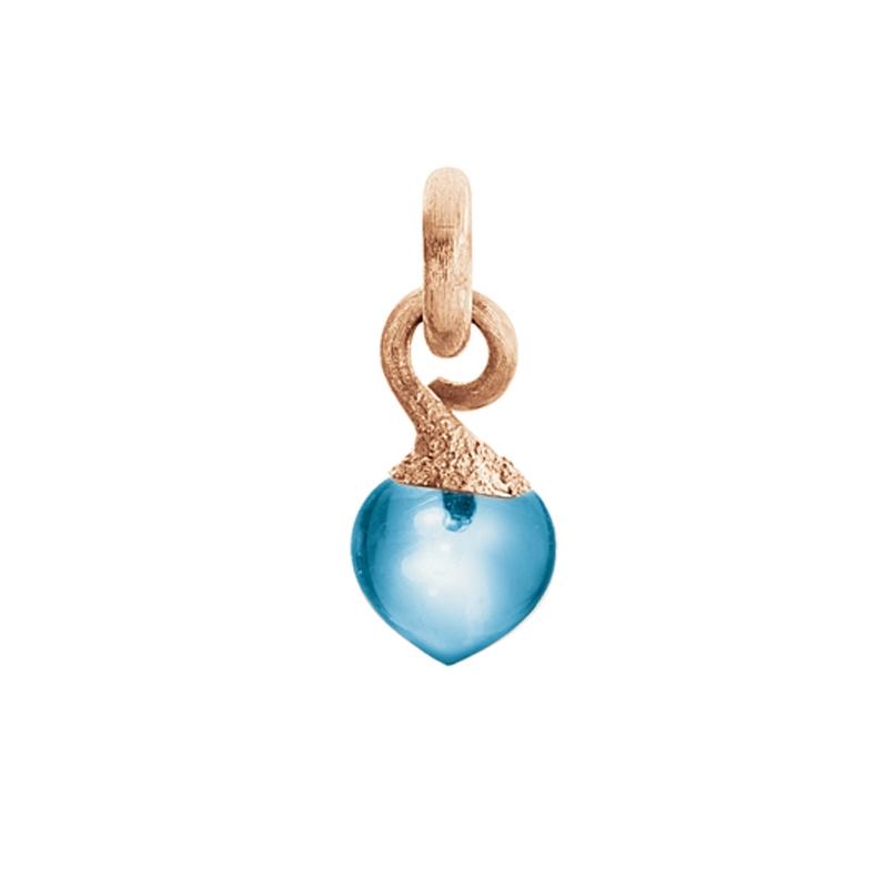 Image of   Ole Lynggaard Charm lille Sweet Drops top 18 karat rosaguld satineret opluk Swiss blå topas cabochon