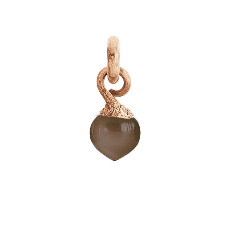 Image of   Ole Lynggaard Charm lille Sweet Drops top 18 karat rosaguld satineret opluk røgkvarts cabochon