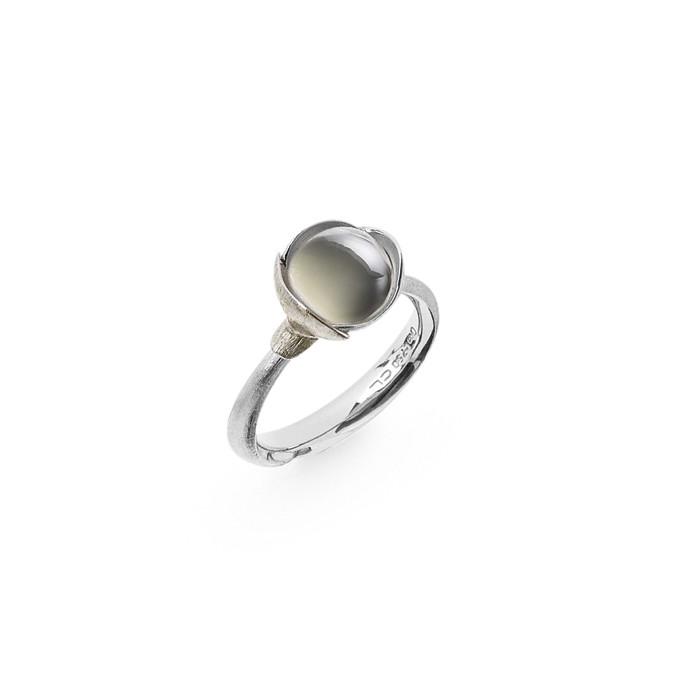 Ole Lynggaard Ring Lotus str. 1 - 18 karat hvidguld rhodineret og urhodineret grå månesten cabochon