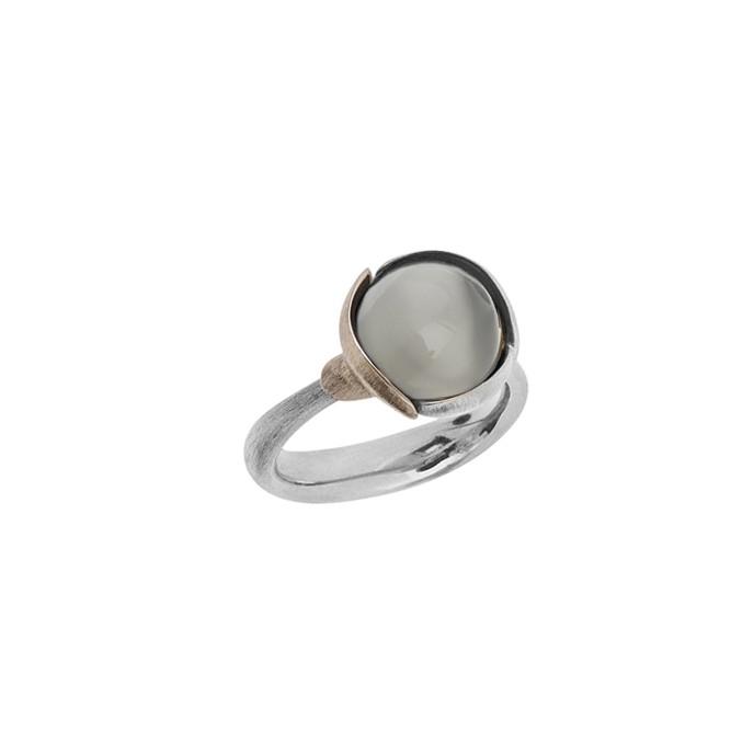 Image of   Ole Lynggaard Ring Lotus str. 2 - 18 karat hvidguld rhodineret og urhodineret grå månesten cabochon