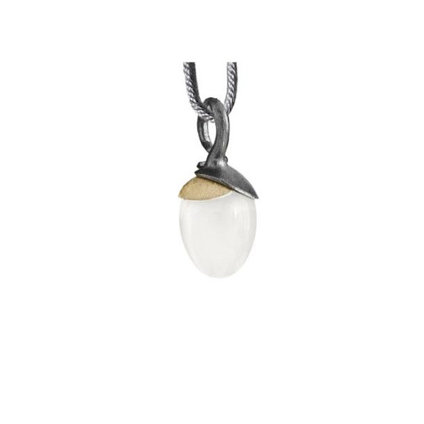 Ole Lynggaard Vedhæng lille Lotus Sterling sølv oxyderet - blade 18 karat rødguld hvid månesten dråbe