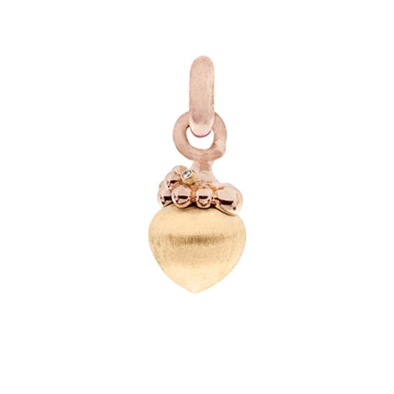 Image of   Ole Lynggaard Charm stor Sweet Drops 18 karat rødguld og rosaguldsfatninger 3 brill. i alt 0,03 ct. TW.VS. opluk