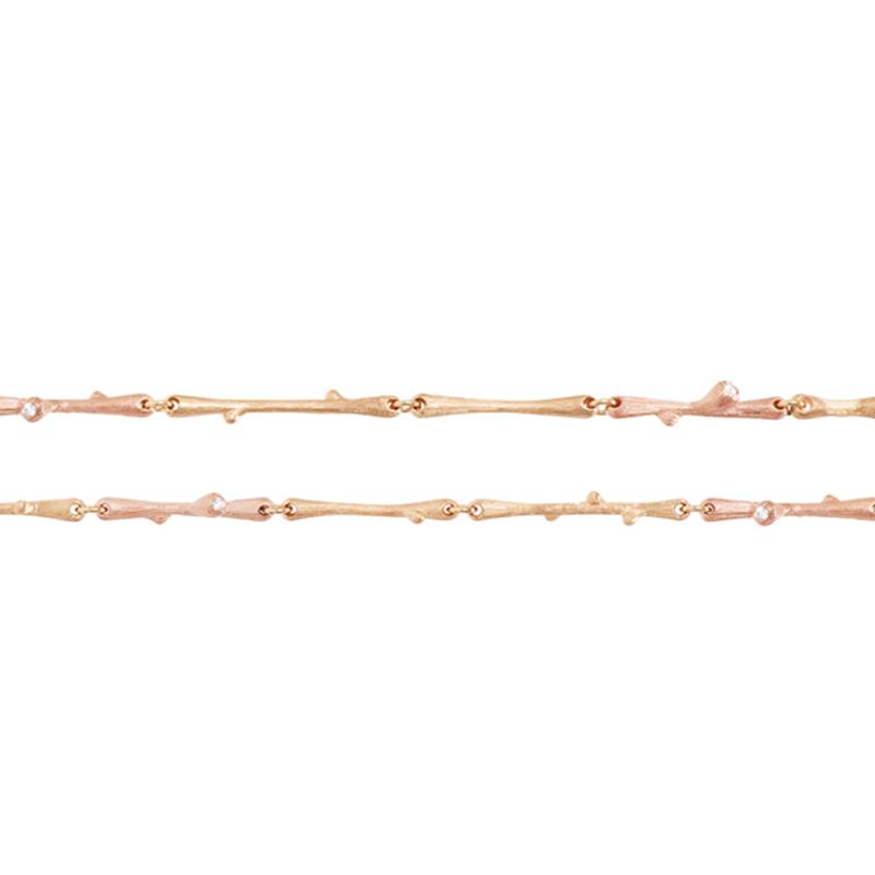 Image of   Ole Lynggaard Nature armbånd 18 karat rød- og rosaguld 3 stk. brill. TW.VS i alt 0,02 carat (længde 18/20/22 cm)