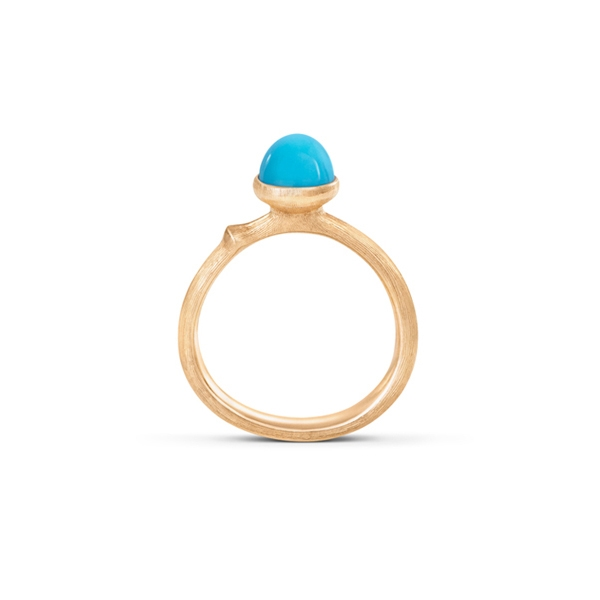 Image of   Ole Lynggaard Lotus ring i rødguld med turkis Str. 0 - tiny