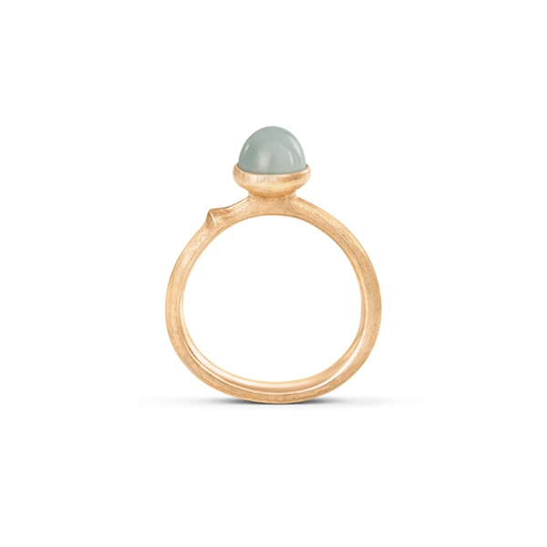 Image of   Ole Lynggaard Lotus ring i rødguld med aquamarin Str. 0 - tiny