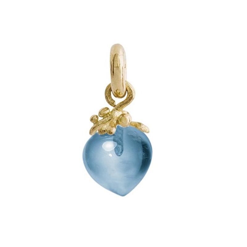 Image of   Ole Lynggaard Charm stor Sweet Drops i rødguld med Swiss blå topas