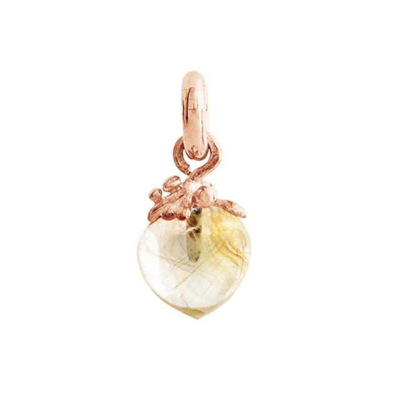 Image of   Ole Lynggaard Charm Filigran stor Sweet Drops 18 karat rosaguld satineret opluk rutilkvarts cabochon