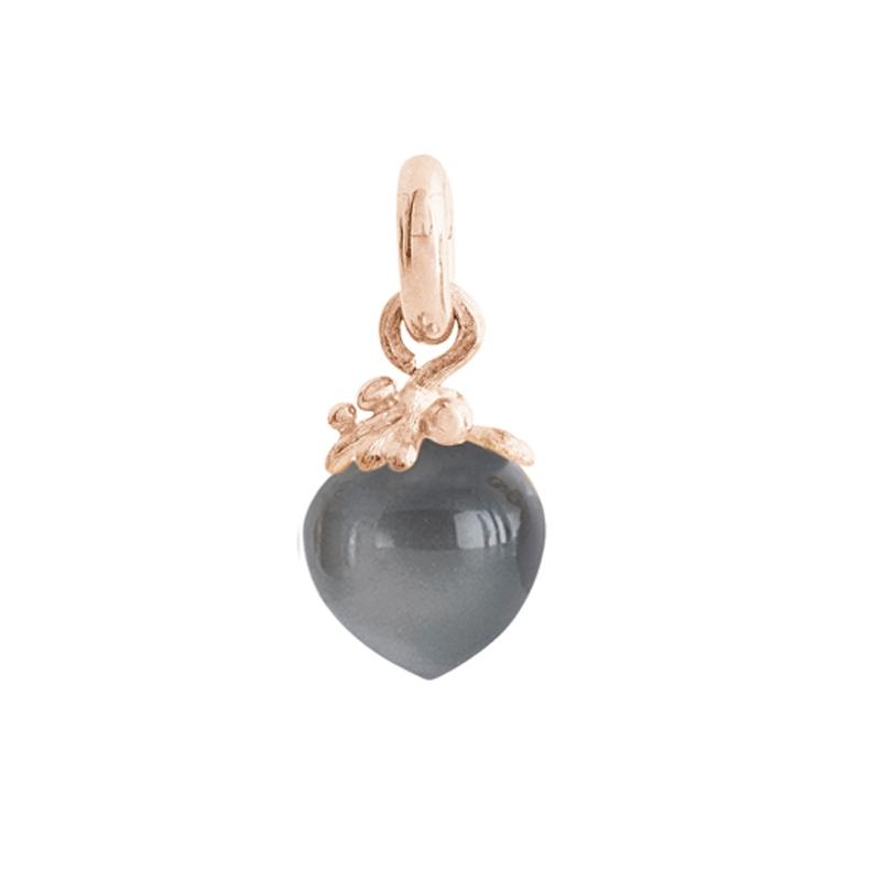 Image of   Ole Lynggaard Charm Filigran stor Sweet Drops 18 karat rosaguld satineret opluk grå månesten cabochon