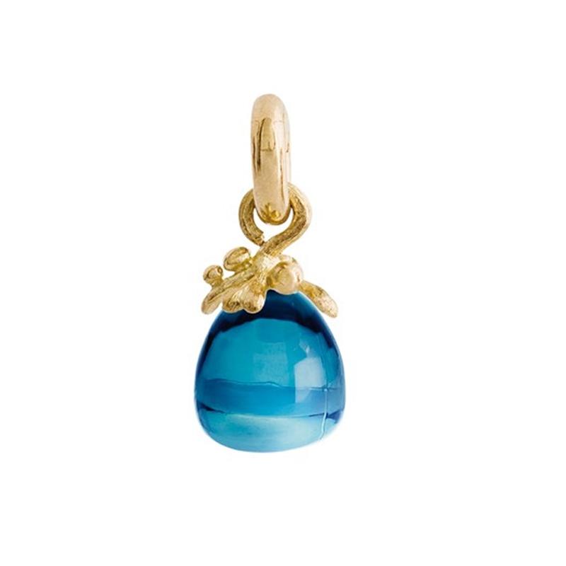 Image of   Ole Lynggaard Charm Filigran Sweet Drops London blå topas cabochon 18 karat rødguld samt opluk