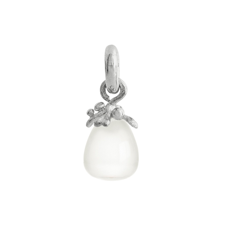 Image of   Ole Lynggaard Charm Filigran Sweet Drops hvid månesten cabochon 18 karat hvidguld opluk satineret