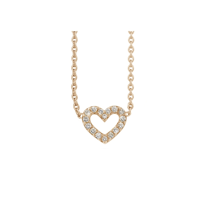 Ole Lynggaard Heart collier i rosaguld med 16 brillanter, blank (40-45 cm)