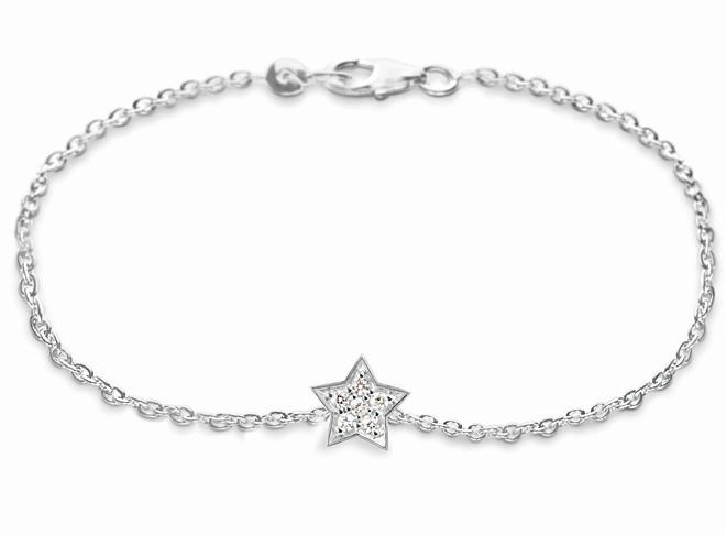Ole Lynggaard Armbånd 18 karat hvidguld anker 40 Star lille 6 brill  i alt 0.095ct TW.VS blank (19 cm)