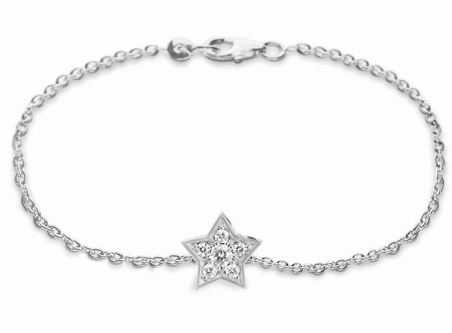 Ole Lynggaard Armbånd 18 karat hvidguld anker 40 Star stor 6 brill. i alt 0.18ct TW.VS blank (17 cm)