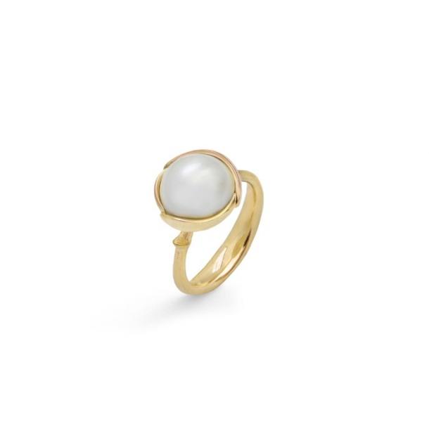Ole Lynggaard Ring lille Lotus 18 karat rødguld mabe perle
