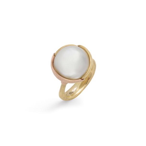 Ole Lynggaard Ring stor Lotus 18 karat rødguld mabe perle