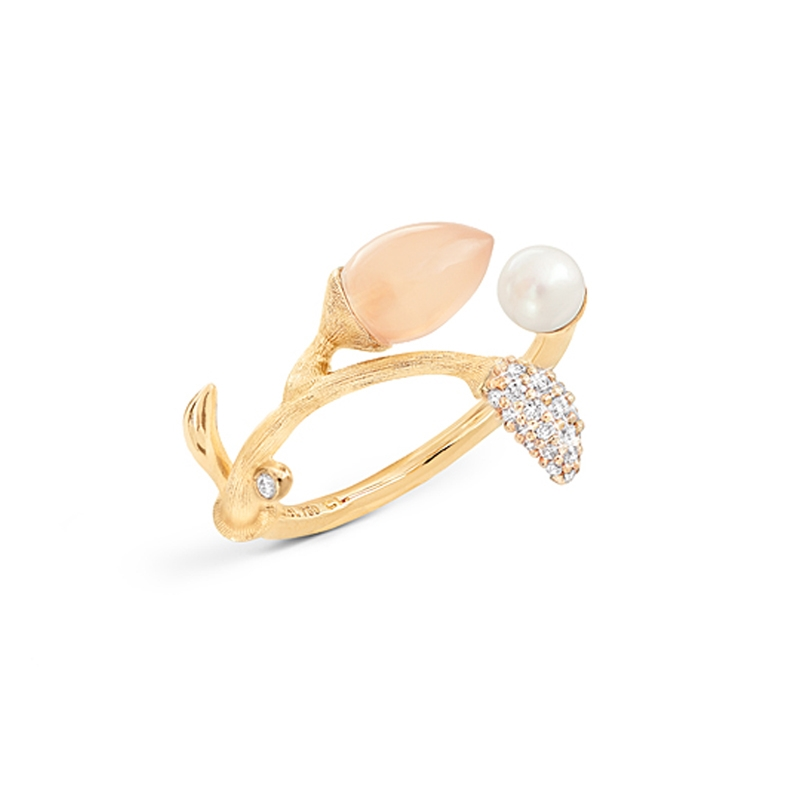 Ole Lynggaard Blooming ring i guld med brillanter, månesten og perle