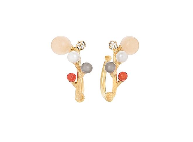 Ole Lynggaard Blooming øreringe i guld med brillant, månesten, perle og koral