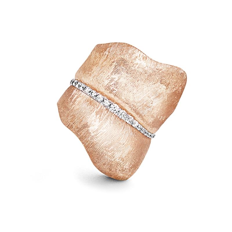 Ole Lynggaard Ring stor Leaves 18 karat rosaguld 48 brillanter ialt 0,45 ct. TW.VS.