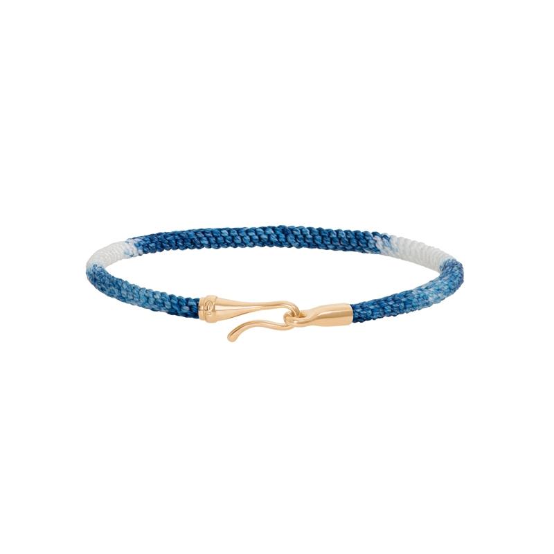 Ole Lynggaard Life armbånd i blå nylon med guld krog-20