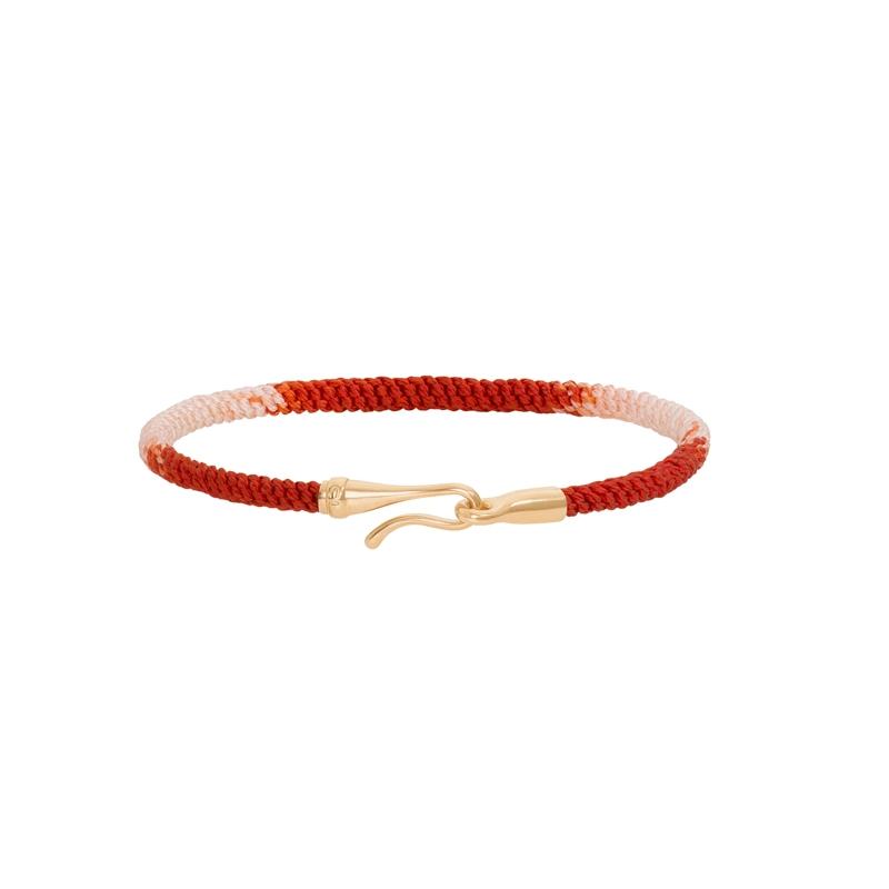 Ole Lynggaard Life armbånd i rød nylon med guld krog-18