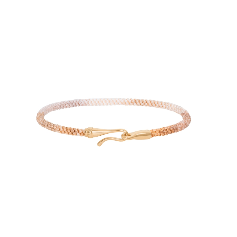Ole Lynggaard Life armbånd i gylden nylon med guld krog