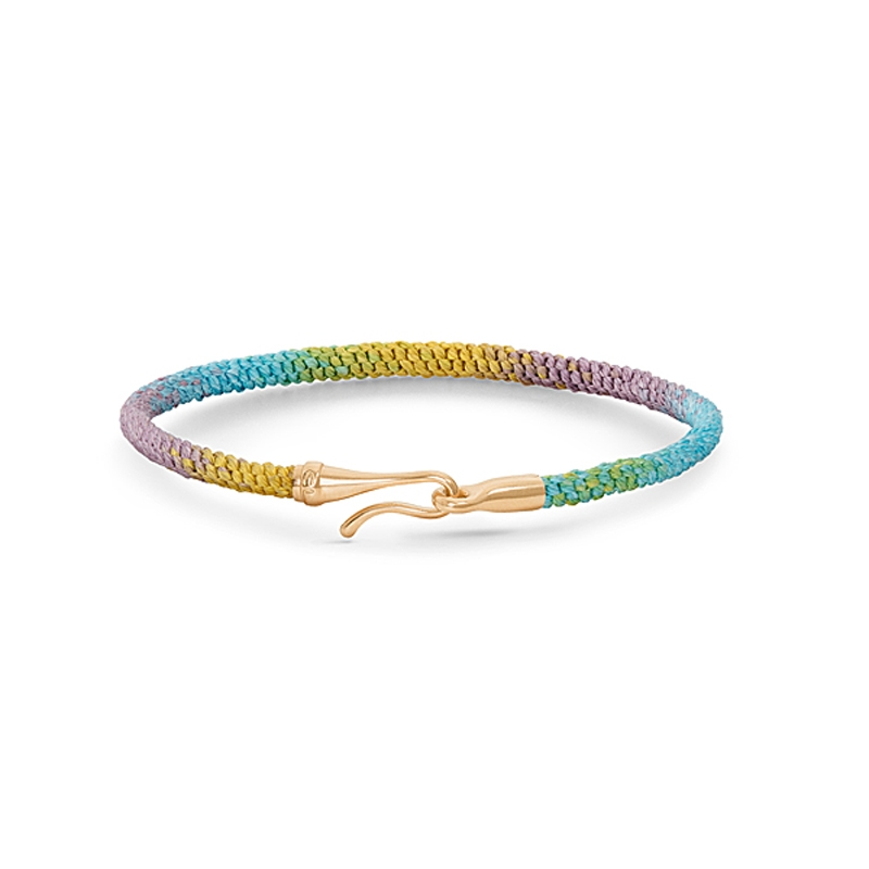 Image of   Ole Lynggaard Life Special Edition armbånd i Rainbow nylon med guld krog