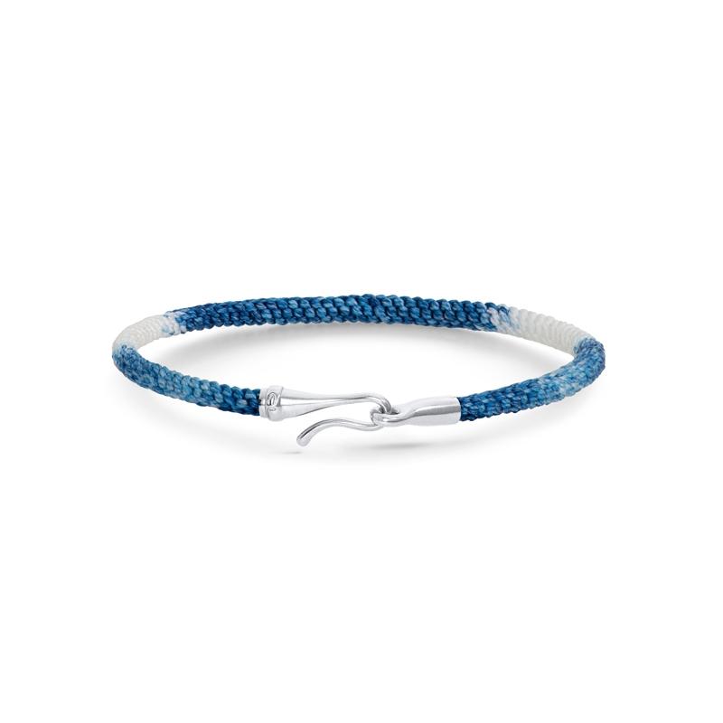 Ole Lynggaard Life armbånd i blå nylon med sølv krog